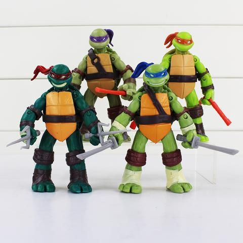 TMNT teenage mutant ninja turtles Figure Toy Can be moving pvc toy doll model 4 inch Retail Free Shipping