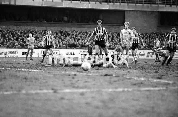Grimsby Football Pitch Grimsby North East Lincolnshire England. February 1984. Division 2 Match: Grimsby Man City