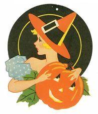 Scarce 1930's Halloween  Art Deco Die Cut - Woman in Witch Hat Holds Pumpkin