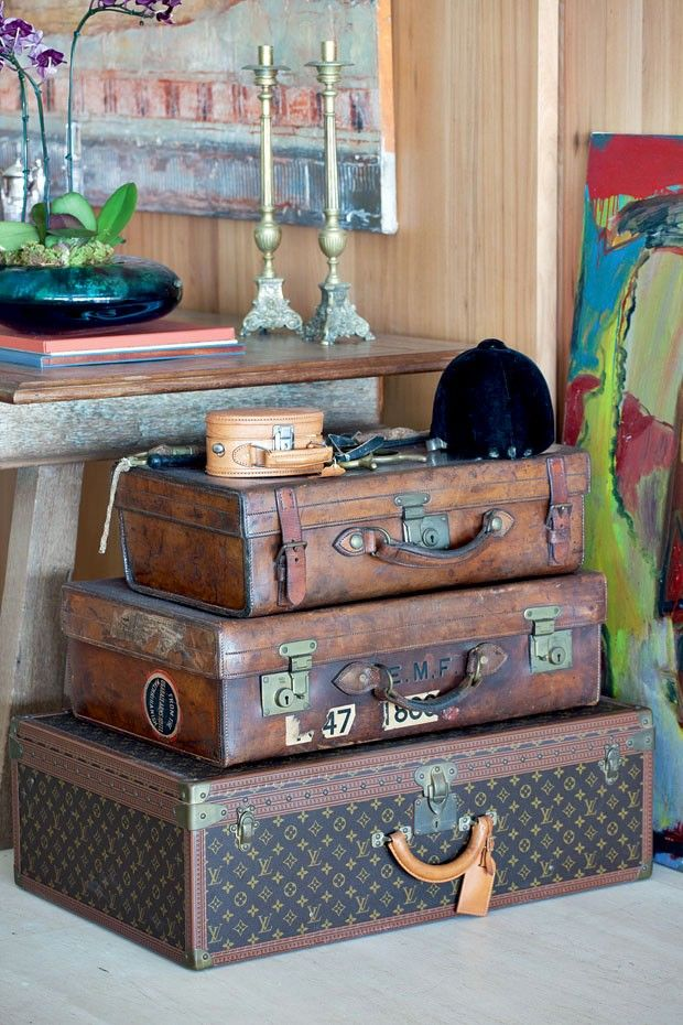 I adore vintage suitcases - They dont have to even store anything - they're just so beautiful!