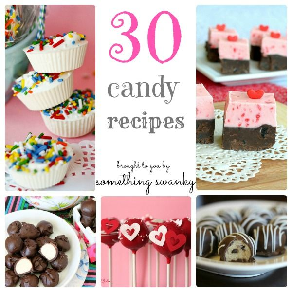 30 Candy Recipes...these all look amazing, but I'm dying to make the Pink Velvet Truffles, just gorgeous!