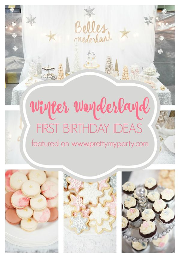 """Check out the adorable Winter """"ONE-derland"""" 1st birthday ideas on www.prettymyparty.com."""