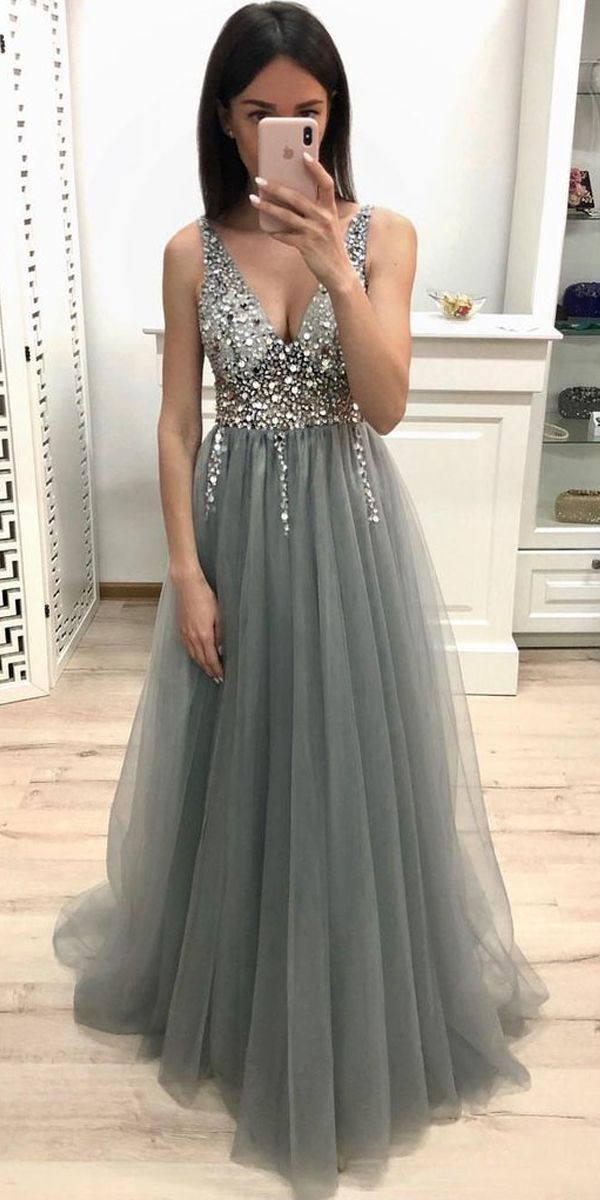New A Line V-neck Gray Ball Gowns Beaded Sequins Evening Dress PM204