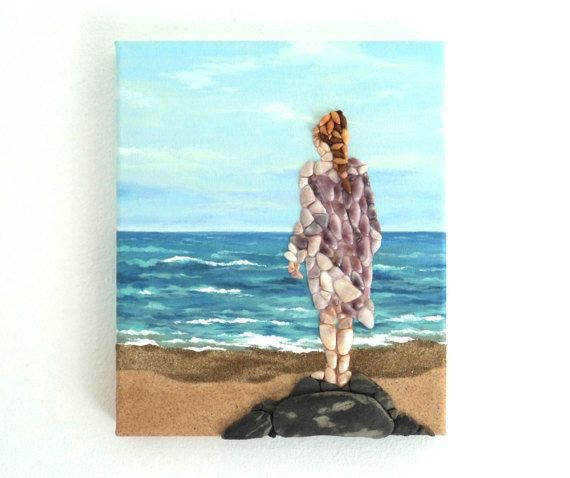 Acrylic Painting, Beach Artwork with Seashells and Sand, Girl on Rock on Beach in Seashell Mosaic on Sand, Mosaic Art, 3D Art Collage, Home Decor, Wall Decor #ArtworkwithSeashells #mosaiccollage #seashellmosaic #homedecor #walldecor #3D