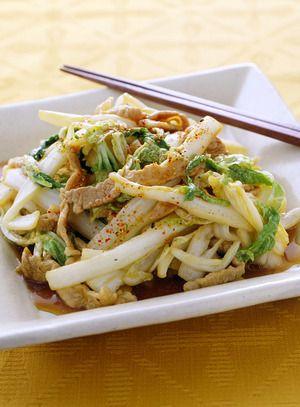 白菜と豚肉の細切り炒め