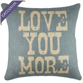 """Burlap pillow with a typographic motif in blue and beige. Handmade in the USA.   Product: PillowConstruction Material: BurlapColor: Blue and beigeFeatures:  Handmade by TheWatsonShop exclusively for Joss & MainZipper enclosureMade in the USAInsert included Dimensions: 16"""" x 16""""Cleaning and Care: Spot clean"""
