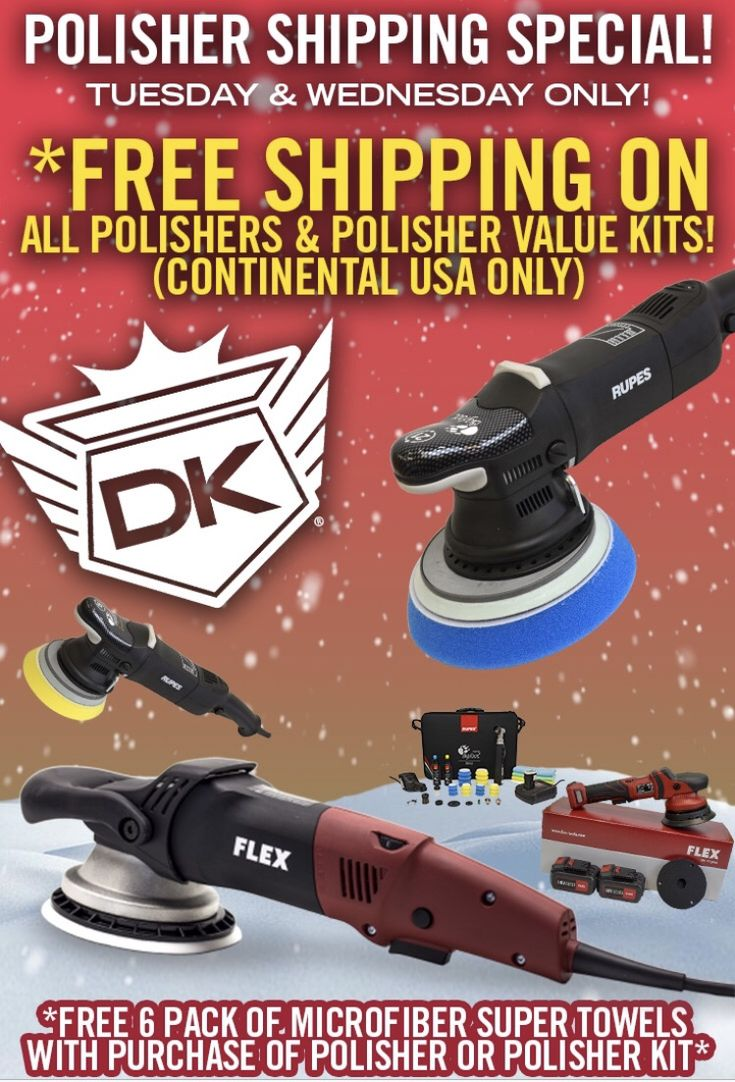 You can now get *free shipping on polishers and polisher