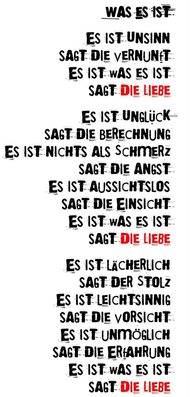 WAS ES IST - Erich Fried #zitat | Zitate / Quotes ...