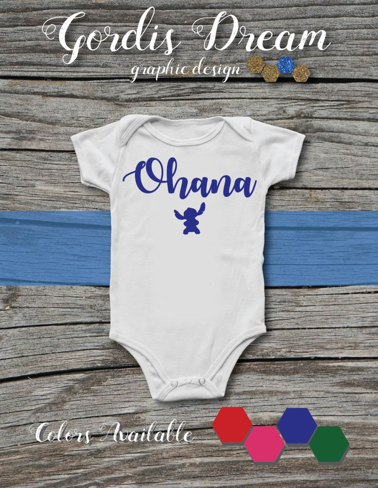 Lilo and Stitch - Ohana White Baby Onesie with Green Font / BodySuit / Present / Gift  / Shower / Movie by GordisDream on Etsy https://www.etsy.com/listing/490135756/lilo-and-stitch-ohana-white-baby-onesie