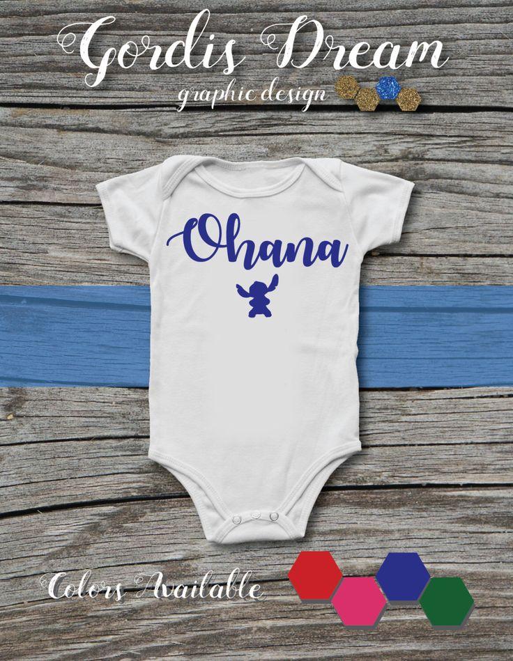 Lilo and Stitch - Ohana White Baby Onesie with Green Font / BodySuit / Present / Gift / Shower / Movie by GordisDream on Etsy https://www.etsy.com/listing/490135756/lilo-and-stitch-ohana-white-baby-onesie