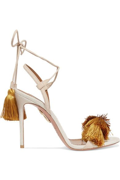 Heel measures approximately 105mm/ 4 inches Beige and light-gray suede Ties at ankle Made in ItalySmall to size. See Size & Fit notes.