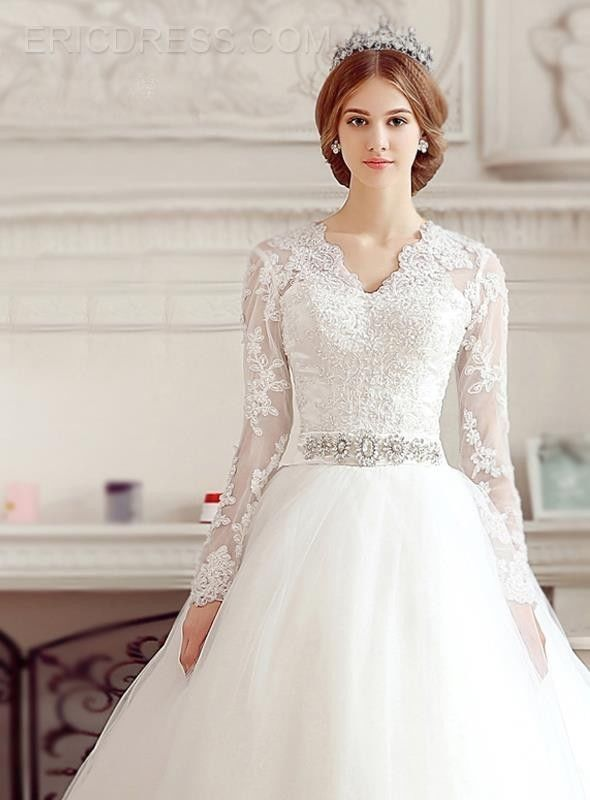 Hot White/Ivory Long Sleeves Beads Wedding Dresses Tulle Bridal Gown Custom Size