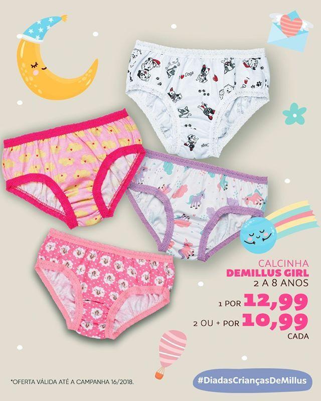 f7f907153 Calcinhas Demillus Girls tamanhos 2 a 8 anos