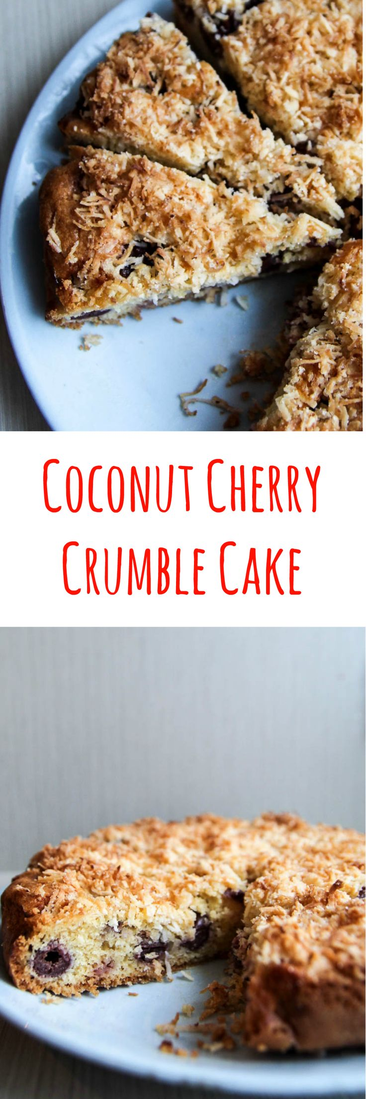 Cherry Coconut Cake Recipe Delicious moist coconut cherry crumble cake recipe which is really easy to make. One piece is never enough. Get the recipe now.