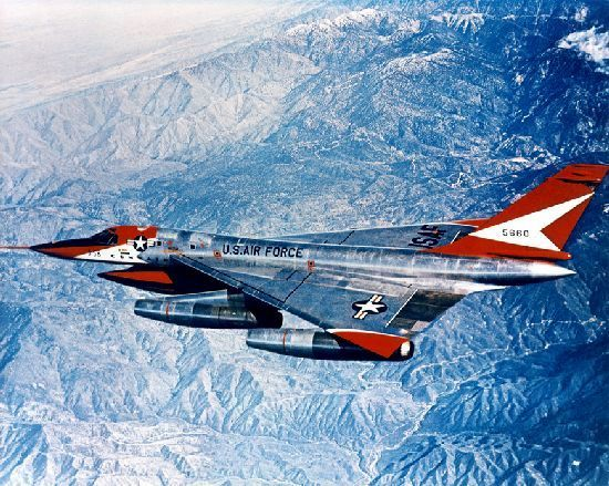 Still perhaps the most elegantly designed military aircraft to date, the supersonic Convair B-58 Hustler. It was the U.S. Air Force's first operational supersonic bomber.