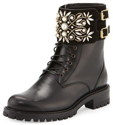 Rene Caovilla Crystal-Cuff Leather Biker Boot, Black