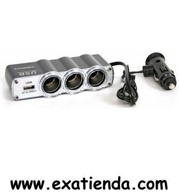 Ya disponible Cargador triple omega coche USB 12/24v    (por sólo 13.95 € IVA incluído):   - Adaptador Triple para el mechero del coche para conectar 3 dispositivos diferentes al mismo tiempo + 1 dispositivo por USB  - Indicador LED de encendido x 3 - Salida + Puerto USB port: Salida: 5A para coches de 12V y 24V - Se puede usar con telefonos móviles, reproductores de música, detectores de radar, televisores, sistemas de entretenimiento etc. -Puerto USB: 5V/500mAh  -EAN: