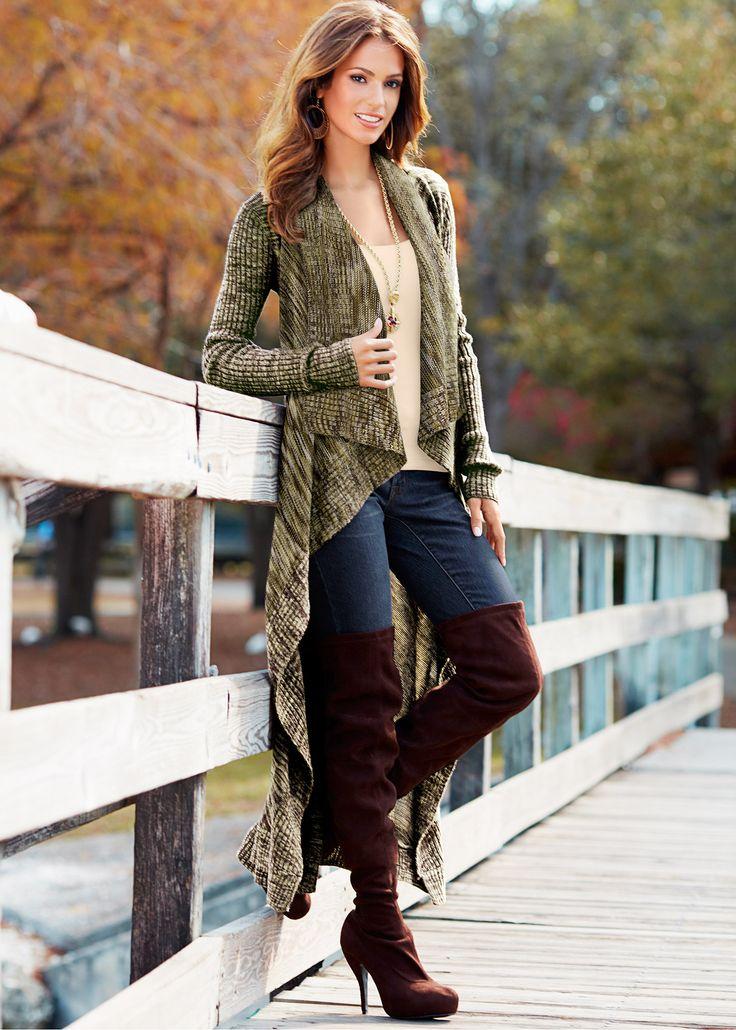 Cardigan marrom mesclado encomendar agora na loja on-line bonprix.de R$ 129,00 a partir de Esse cardigan longo � perfeito para o inverno, modelagem ...