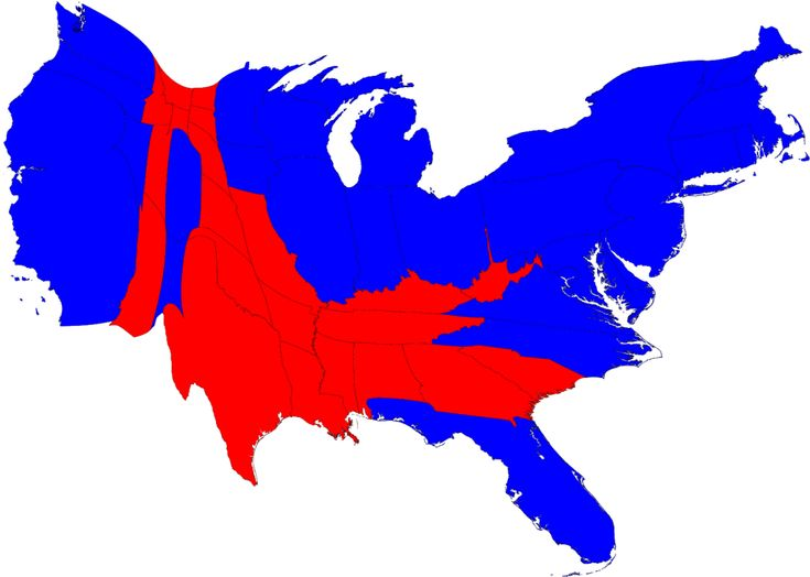 Election map of the USA with state sizes scaled by population size