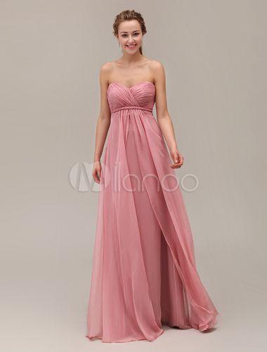 Querida pescoço Strapless do assoalho-comprimento vestido de dama de honra com Chiffon hierárquico - Milanoo.com