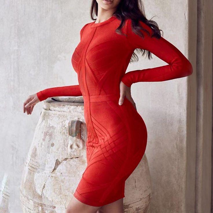 Women's Long Sleeve Bandage Dress   Stylish Tomorrow #stylishtomorrow #reddress