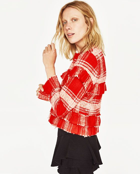 Image 3 of SHORT CARDIGAN WITH FRILLS from Zara