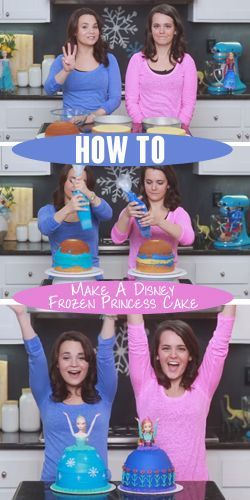 How To: Make A Disney Frozen Princess Cake. I may make this for Riley...The girls demonstrating may be silly and some of the comments mention that this type of cake has been around for years but I enjoyed the demonstration and having the idea brought to mind.