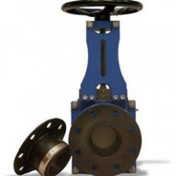 Slurry Knife Gate Valve Perth with replaceable sleeves. Flanged connection. Great for slurry application due to its robust construction and design. More Knife Gate Valves are available in various classes, materials, types and brands, please contact us.  Please do contact us at -  http://dewaterproducts.com.au/product/slurry-knife-gate-valve-perth/