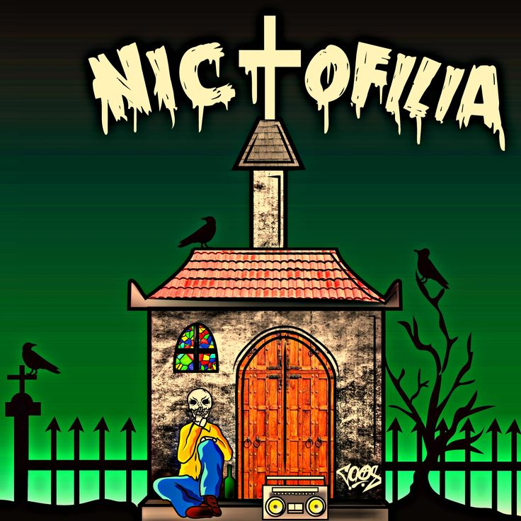 nictofilia , ilustracion , cementerio