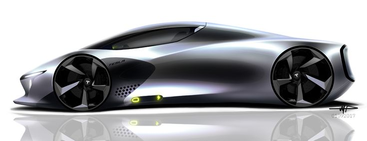 Concept car design sketch by Mark Przeslawski, futuristic car concept design, supercar concept vehicle