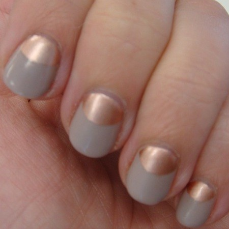Try rose gold and white half-moons. Need to get rose gold nail