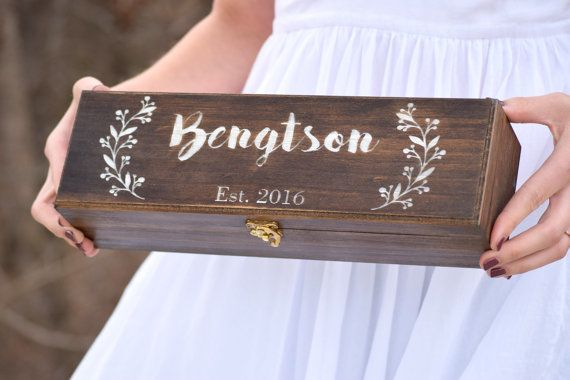 Personalized Wine Box  Wine Ceremony  Keepsake by CountryBarnBabe