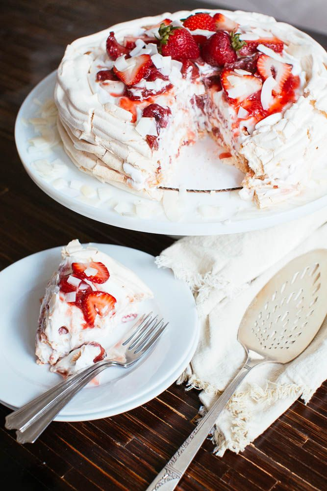 Roasted Strawberry Pavlova Cake with Coconut Cream | recipe from Lick My Spoon