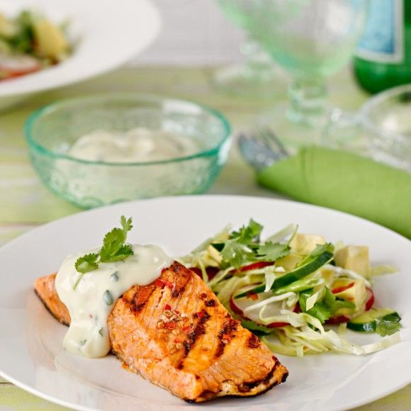 Mexican Inspired Grilled Salmon with Garlic Aioli