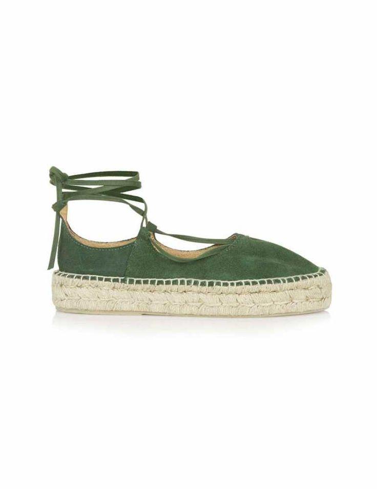 Topshop summer green espadrilles - laced up flat sandals