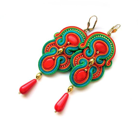 SALE MEXICAN Statement long earrings soutache colorful handmade embroidery red orange aquamarine turquoise gift for her under 100 statement