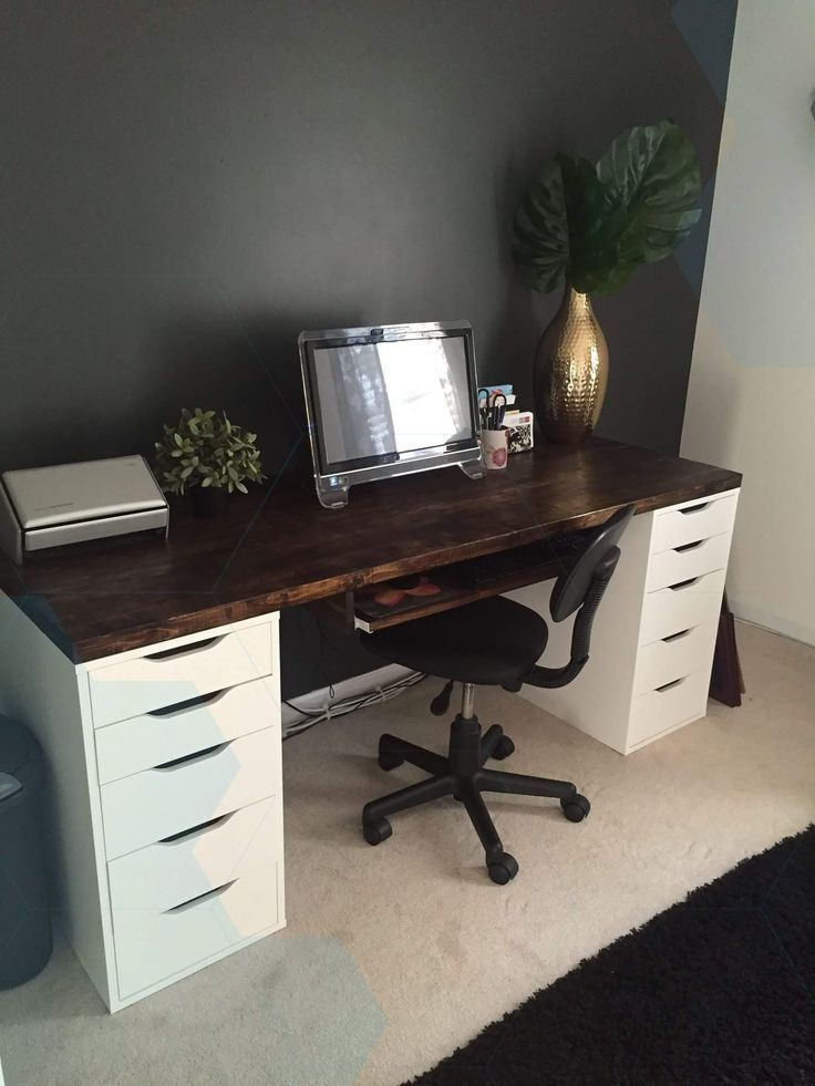 Desk With Ikea Alex Drawer Blocks Except As A Make Up Make Up Office Furniture Layout Home Desk Decor