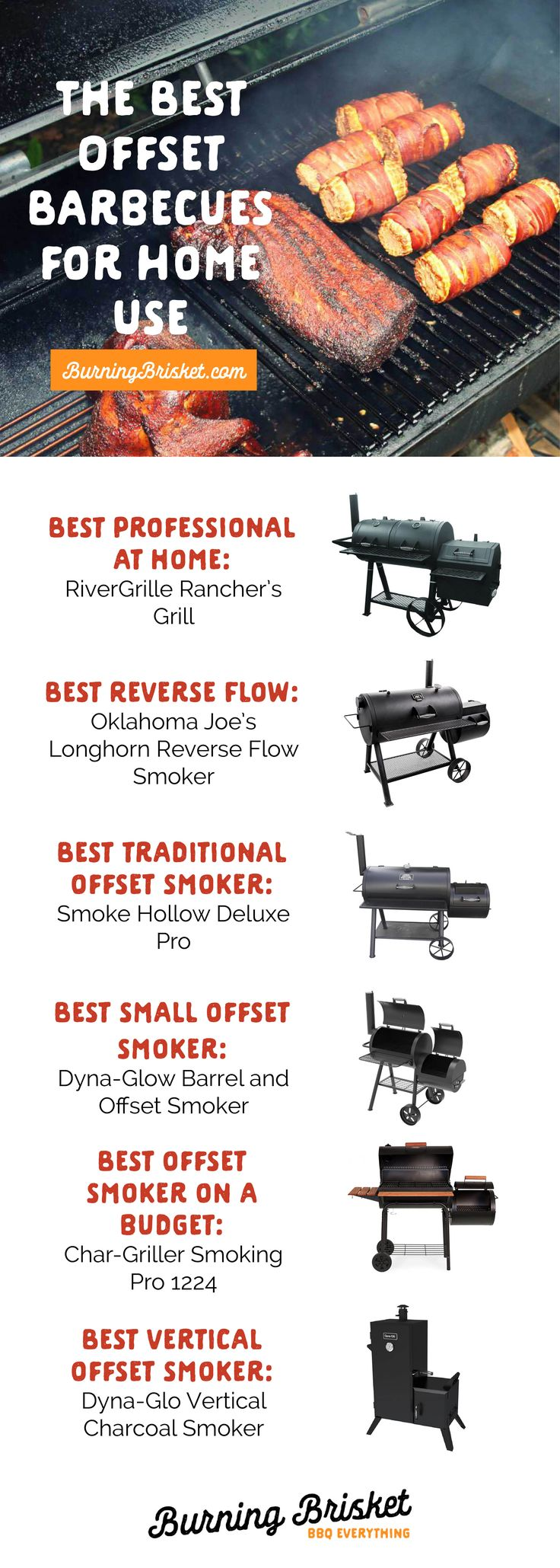 Delicious, fall-apart, low-and-slow meats are easy to create with one of these great offset smokers. Click on the image for the full review | Burning Brisket | Barbecue Everything | best offset smokers, top offset smokers, best smokers, top smokers, how t