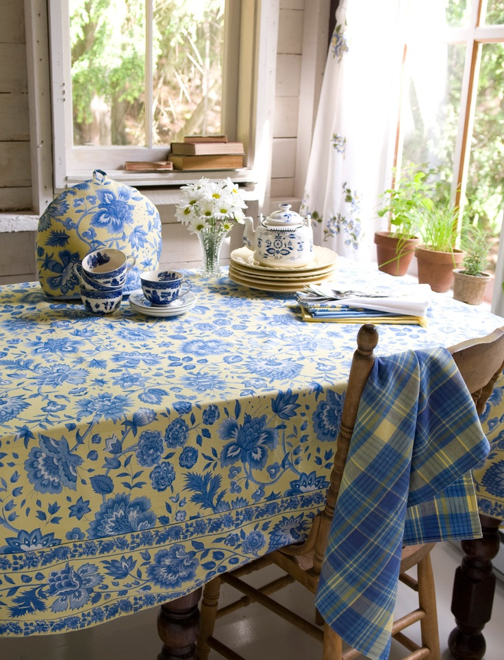 Madeline Buttercup Tablecloths. April CornellYellow CottageBlue ...