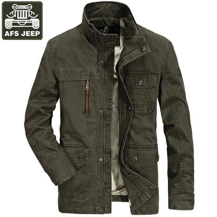 AFS JEEP Jacket Men Brand Coats Male Army Military Jacket Men Plus Size 4XL Multi-pockets Fleece Thick Warm Chaqueta Hombre #Affiliate