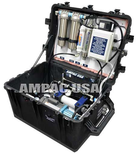 Portable Emergency Seawater Desalination Watermakers  70% of the earth is water. About 69% of that is seawater . Ampac USA Water Scientists have converted seawater into pure drinking water. Using Seawater Desalination RO systems.