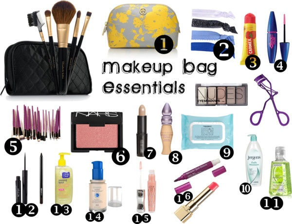 """""""Makeup Bag Essentials"""" by fashionfreak45 ❤ liked on Polyvore"""
