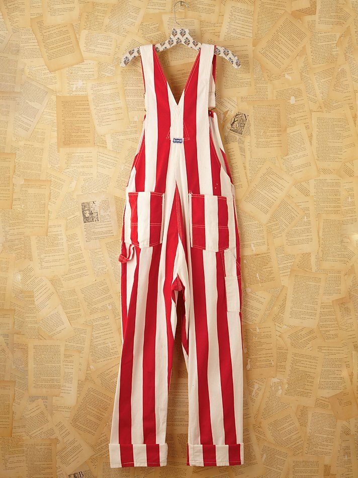 Free people Vintage Red and White Striped Painter Overalls in ...                                                                                                                                                                                 More