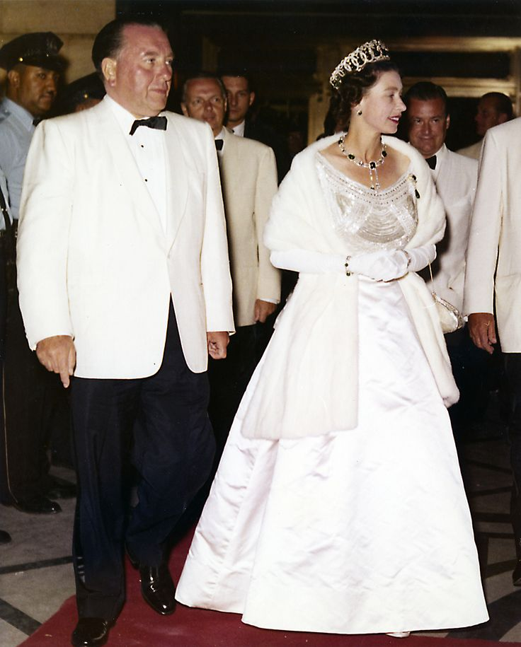 Richard J. Daley and Queen Elizabeth II during her 1959 visit to Chicago