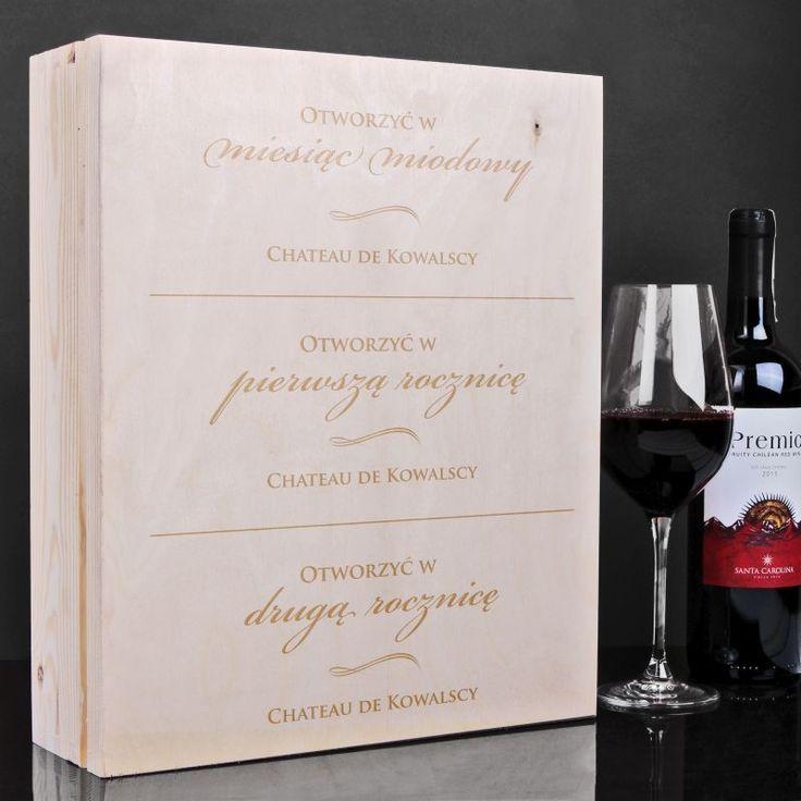 Skrzynka personalizowana na wino MIESIĄC MIODOWY