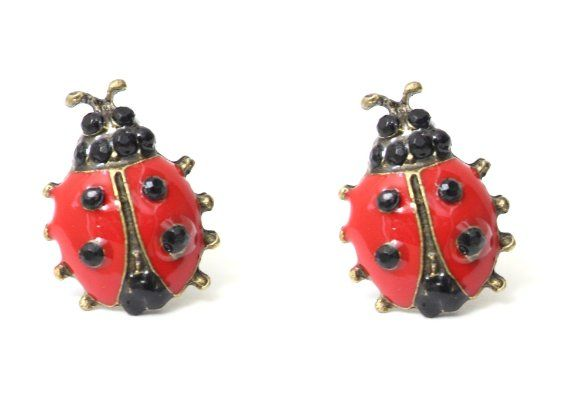LADY BIRD STUD Earrings Cute EC22 Vintage Retro Ladybird Crystal Animal Posts Statement Fashion Jewelry: Jewelry: