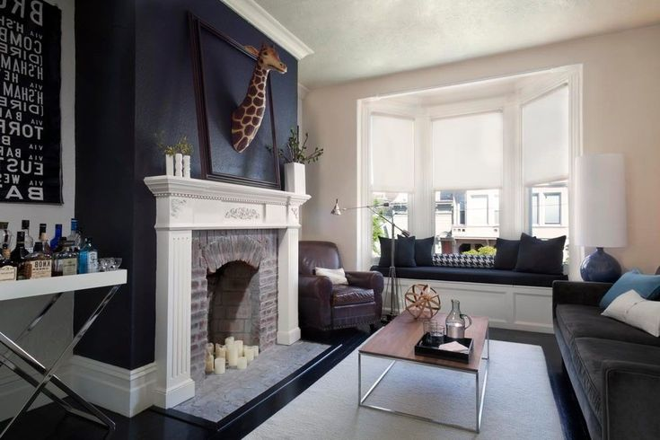 san francisco blue fireplace living room transitional with bar contemporary  curtain rods giraffe