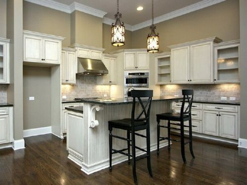 Painted Antique White Kitchen Cabinets