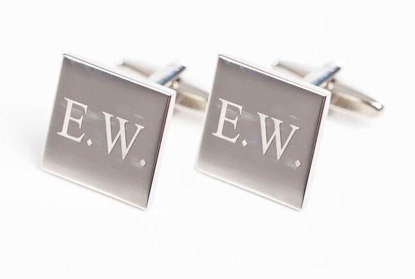 zilveren vierkante manchetknoop