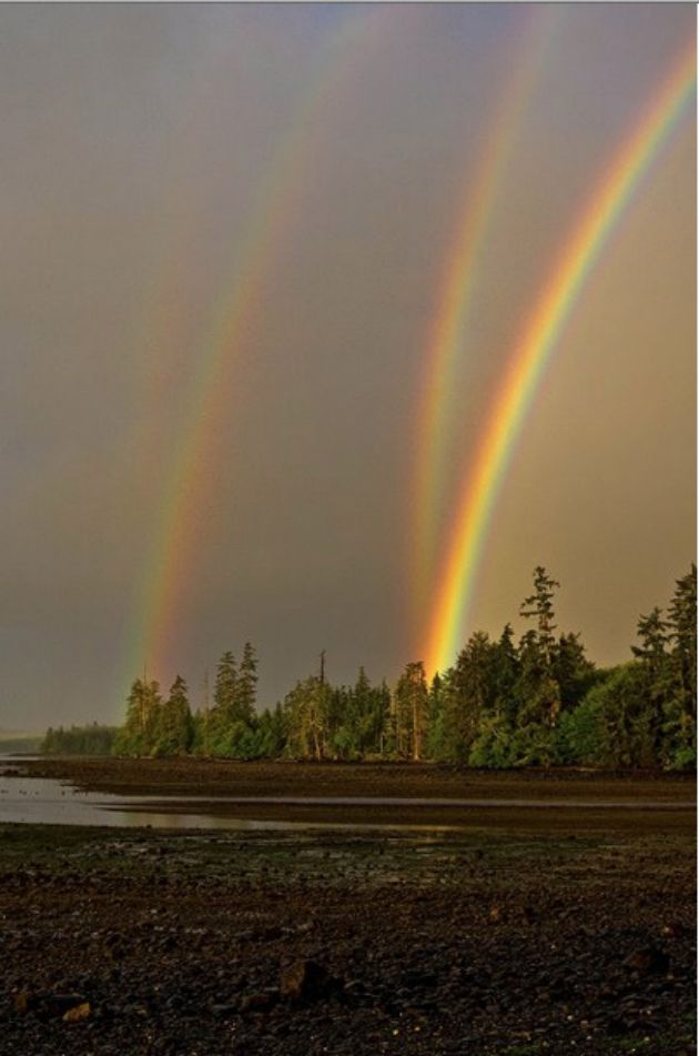 This is actually 4 rainbows--from right to left, main bright rainbow, close by is secondary, a short distance away is the third one, and very faint but still there is the 4th one.